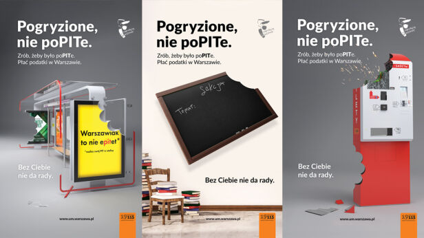 Plakaty zachęcające do rozliczania się w stolicy UM Warszawa