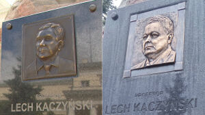 """""""Podmieniony"""" wizerunek Lecha Kaczyńskiego na głazie"""
