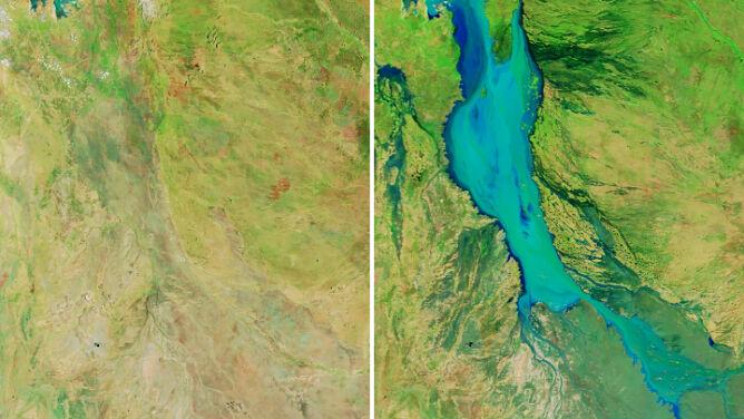 Australijski krajobraz po ulewach. <br />Różnicę widać na zdjęciach satelitarnych