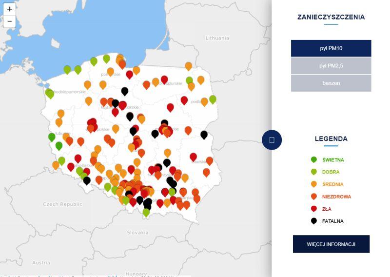 Stężenie pyłu PM10 po godzinie 21.30 (tvnmeteo.pl za GIOŚ)