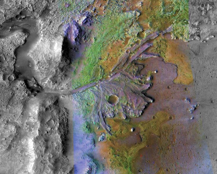Krater Jezero będzie miejscem, gdzie wyląduje lądownik NASA (NASA/JPL/JHUAPL/MSSS/Brown University)