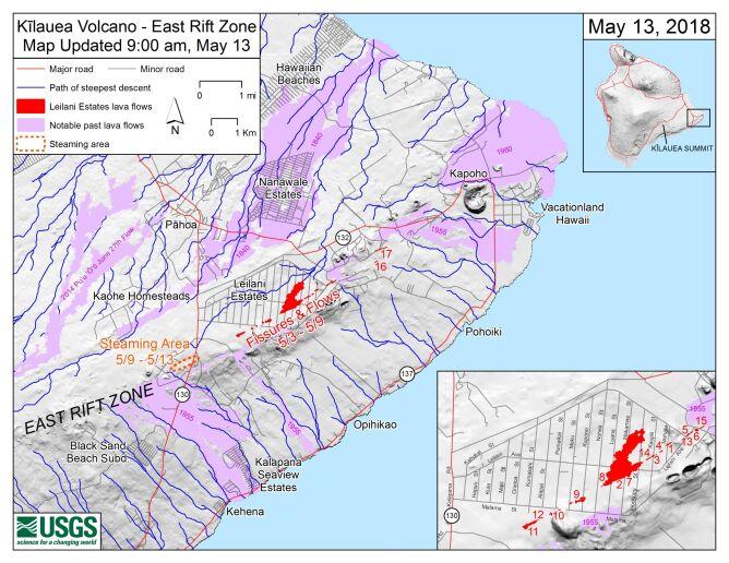 Szczeliny w strefie ryftu wulkanu Kilauea