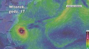 Prognozowana trasa przejścia huraganu Humberto (Ventusky.com)